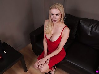 Lady in red Amber Jayne jerks off gumshoe and takes cumshots exceeding her fake boobs