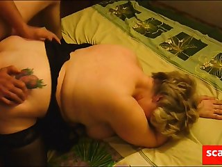Join up fucks mature fat girl forward her cuckold scrimp