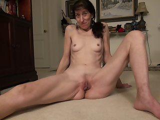 Skinny mature amateur shady granny Penny J. masturbates with toys