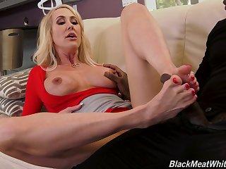 MILF blonde roughly high heels Brandi Love rides a big black dick hardcore