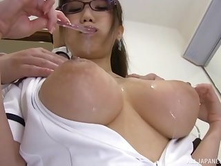 hot Hamaguchi Ena adores doggy style after a tit job on the floor