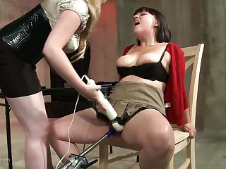 Brunette explicit moans loudly to the fullest extent a finally she gets punished with toys