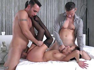 Slim brunette beauty coupled roasted by a bosom of big dicks