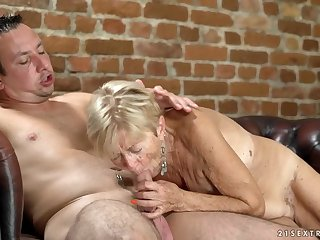 Saggy tits are sexy on a cock riding granny