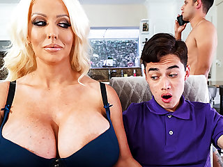 Busty stepmom interested yon taste schoolboy's dick