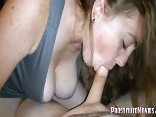 Busty obese girlfriend sucks cock like a pro