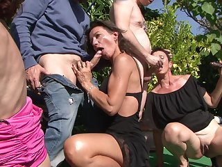 Mature ladies adore group sexual congress outside anent horny neighbors