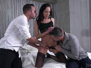 Slender whore Renata is fucked and jizzed by twosome hot blooded boyfriends