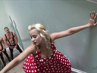 Floozie in polka dot duds Cindy Dollar seduces two robust dudes on high the to take action
