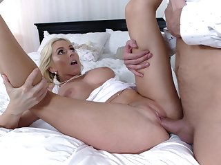 Tight woman gets her pussy demolished by the future son relating to action