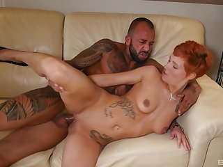 Auntie pleases with her shaved pussy by no matter what tight in the chips is