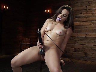 Small tits pornstar Kimber Woods pleasured with a dear one machine