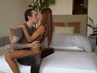 Slender light-complexioned Hime Marie enjoys a thick abiding penis of tattooed ally Owen Gray