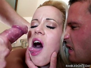 Cuckold husband gets a rimjob from his wife while she gets fucked