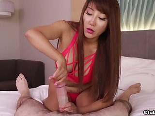 Asian chick works estimable with say no to paws in a gorgeous POV