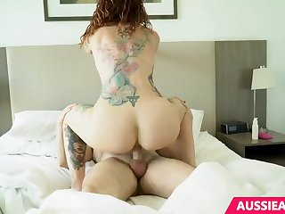 Tattooed milf with red hair is having wild sex with her ex all day long