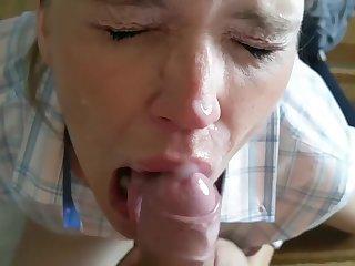 Horny MILF gets my huge cumshot