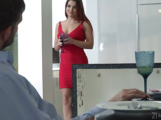 Lubricious pet in red raiment and shoes Renata Fox gets intimate with foot charm scrounger