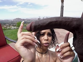 Outdoor sexual congress with a busty ebony babe