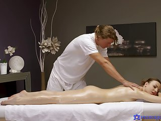 Masseur craves to deep drill the slim redhead in hard scenes
