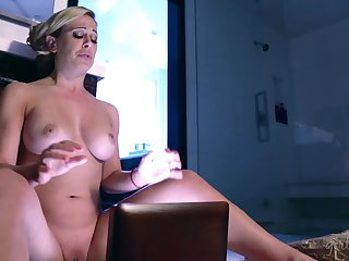 Stepmom watches her stepdaughter's sex tape and that babe loves some pussy